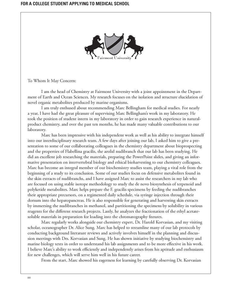 Sample: Writing Your Own Letter of Recommendation for Medical School ...